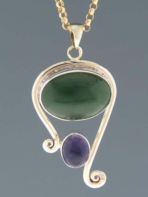 Jade & Amethyst Pendant - Sterling Silver & 9ct Gold - J303