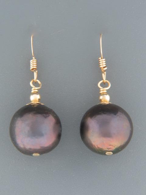 13mm dark Pearl Earrings - 14ct Gold Filled - Y503