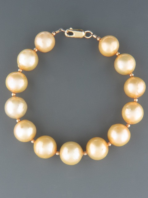Champagne Pearl Bracelet with Gold beads - Y906