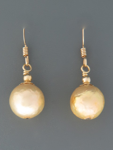 Champagne Pearl Earrings - 14ct Gold Filled - Y504