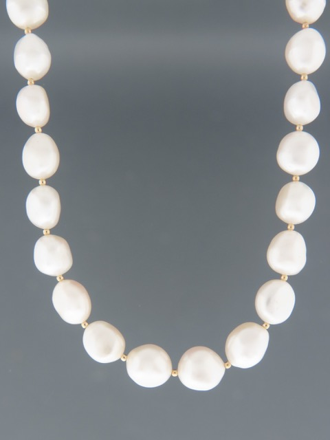 10mm Baroque Pearl Necklace with Gold beads - YWBQ102N