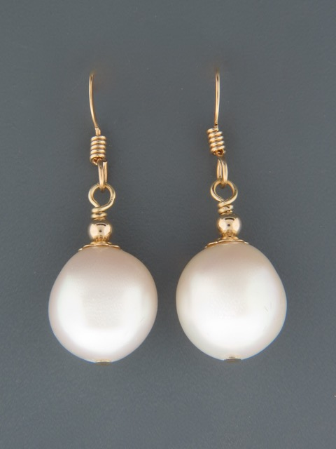 10mm Baroque Pearl Earrings - 14ct Gold Filled - YWBQ10G