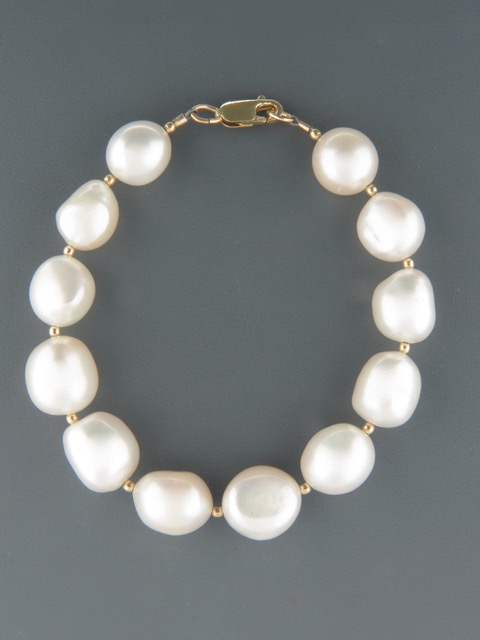 10mm Baroque Pearl Bracelet with Gold beads - YWBQ102B