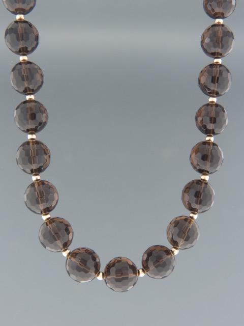 Smokey Quartz Necklace - 12mm round faceted stones - SQ012