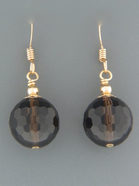 Smokey Quartz Earrings - 14ct Gold Filled - 12mm stones - SQ515G