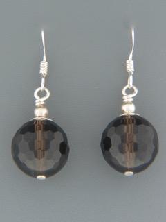 Smokey Quartz Earrings - Sterling Silver - 12mm stones - SQ515