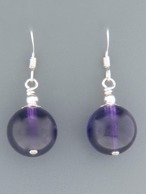 Amethyst Earrings - Sterling Silver - 12mm stones - A522