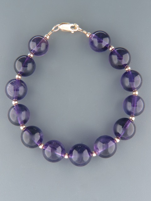 Amethyst Bracelet - 12mm round stones - A912