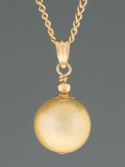 11mm Champagne Pearl Pendant - 14ct Gold - YCH11PG
