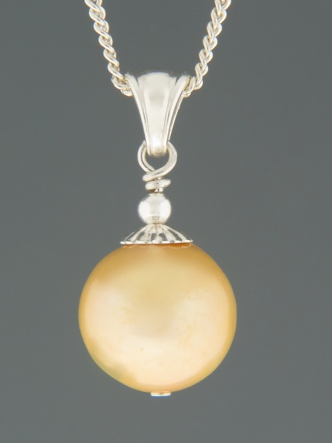 12mm Champagne Pearl Pendant - Silver - YCH12PS