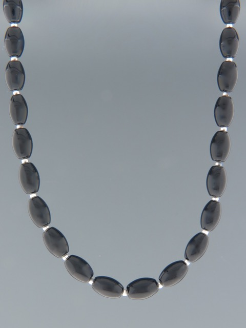 Onyx Necklace with Silver beads - OX014