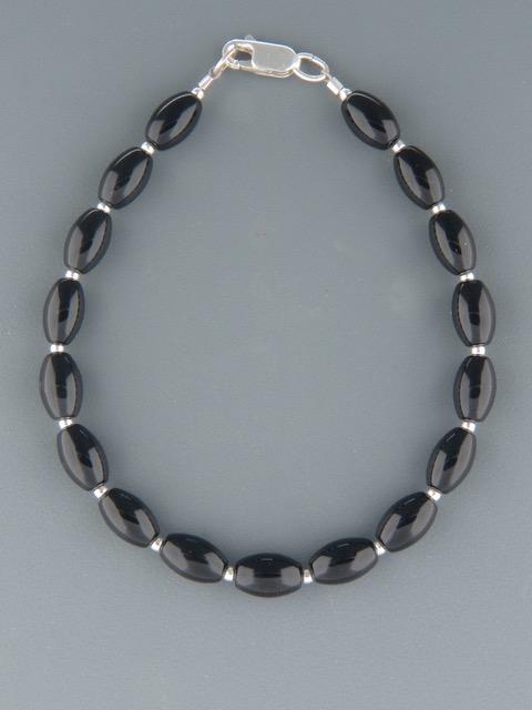 Onyx Bracelet with Silver beads - OX914