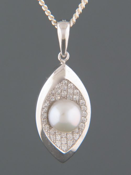 Silver/Grey Pearl Pendant with Zircons - Sterling Silver - Y302