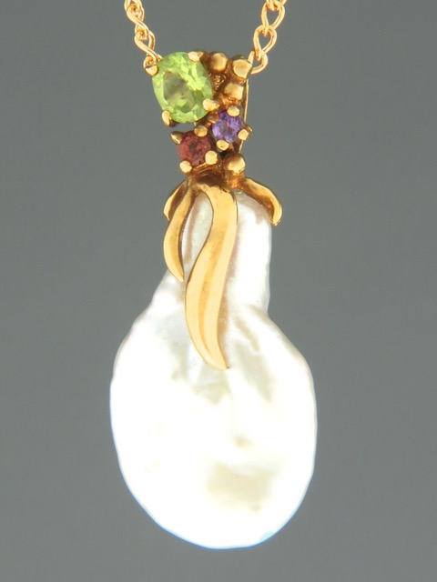 Baroque Pacific Pearl Pendant - Gold Vermeil - Y310GV