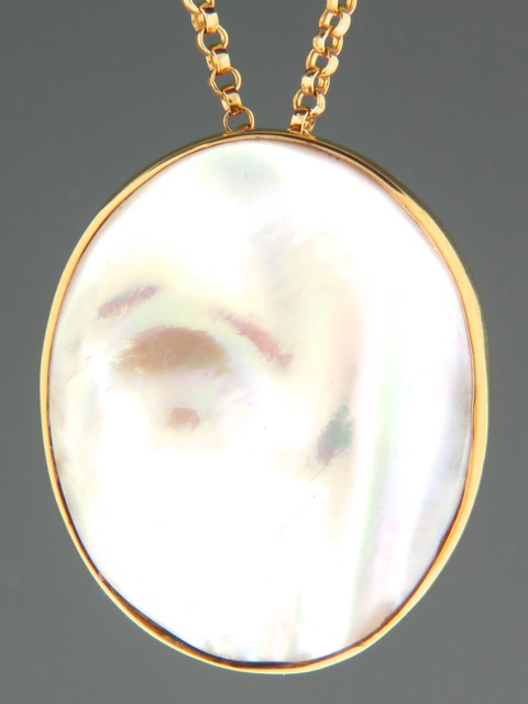 Mussel Pearl Pendant and Brooch - Gold Vermeil - Y315GV