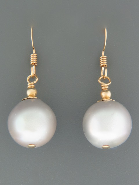 12mm Silver Pearl Earrings - 14ct Gold Filled - YS12G