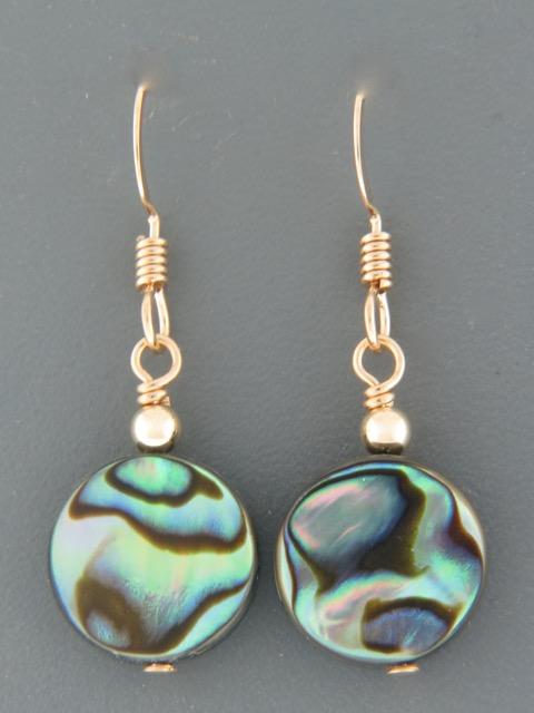 Paua Shell Earrings - 14ct Gold Filled - PA530G