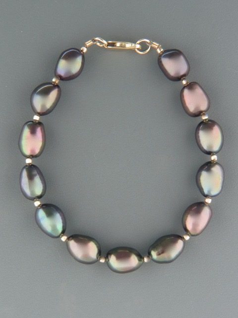 10mm Baroque Pearl Bracelet with Gold beads - YDBQ102B
