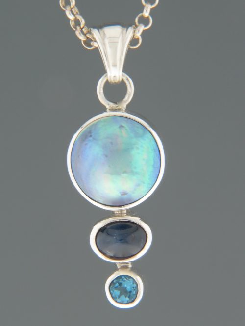 Paua Pearl Pendant with Sapphire & Topaz - Sterling Silver - PP310