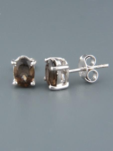 Smokey Quartz Earrings - Sterling Silver stud - 8x10mm stones - SQ550