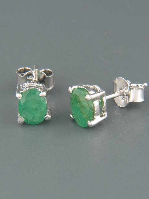 Emerald earrings - Sterling Silver - 5x7mm stones - E507