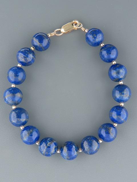 Lapis Lazuli Bracelet - 10mm stones with Gold beads - LL910