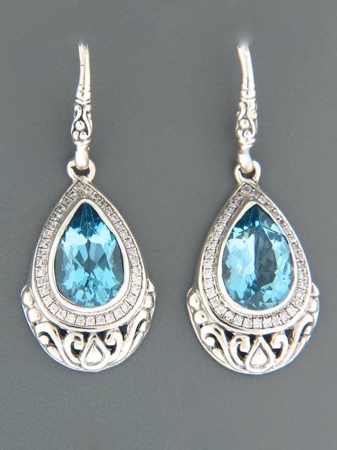Blue Topaz Earrings - Sterling Silver - BT513