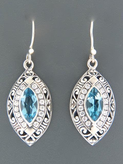Blue Topaz Earrings - Sterling Silver - BT514