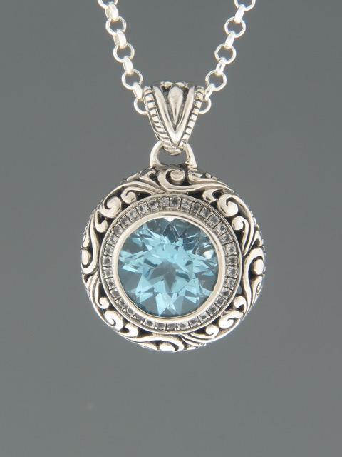 Blue Topaz Pendant - Sterling Silver - BT315
