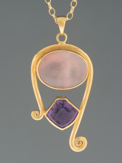 Rose Quartz & Amethyst Pendant - Gold Vermeil - RQ308GV