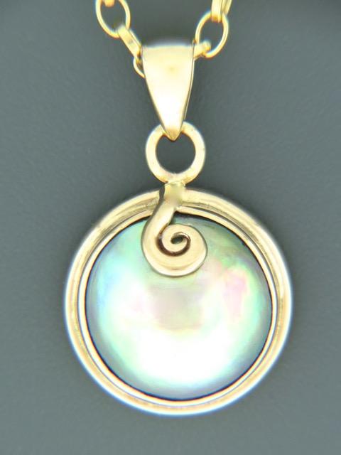 Paua Pearl Pendant - 14ct Gold - 13mm Pearl - PP361