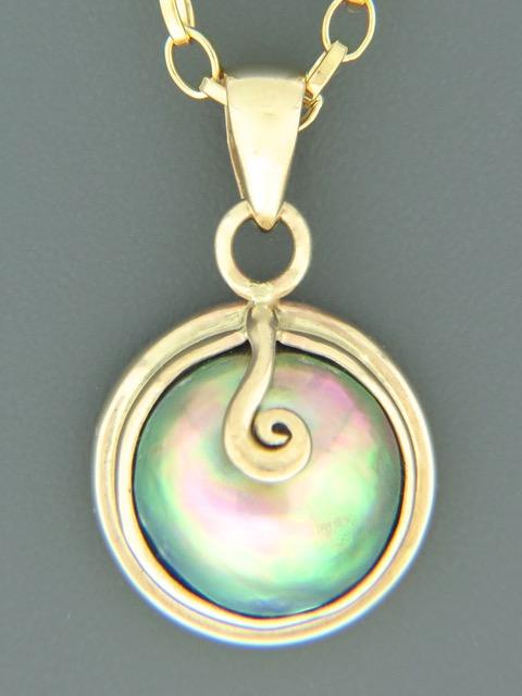 Paua Pearl Pendant - 14ct Gold - 12mm Pearl - PP362
