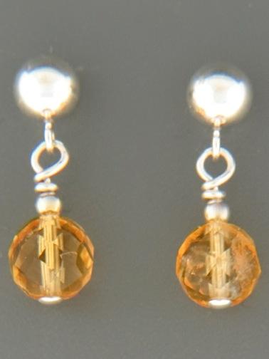 Citrine Earrings - Sterling Silver stud - C513