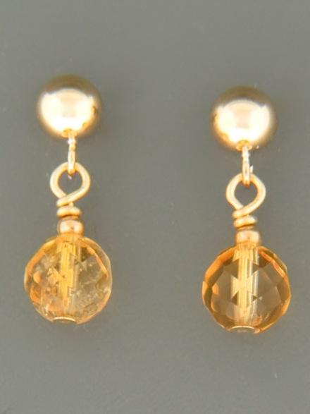 Citrine Earrings - 14ct Gold Filled stud - C513G