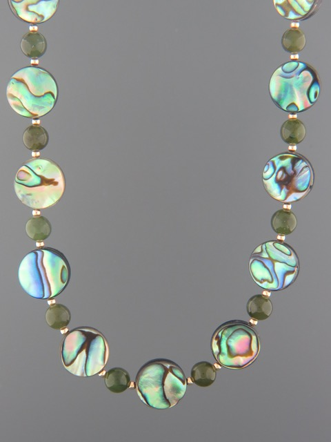 Paua Shell & Jade Necklace with Gold beads - PA003
