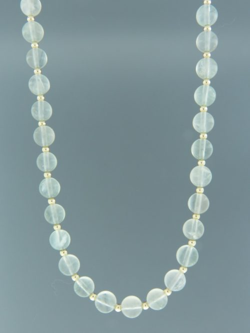 Blue Fluorite Necklace - 8mm round stones with Gold beads - F012