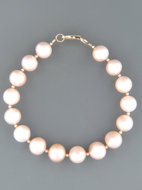 10mm Pink Pacific Pearl Bracelet with Gold beads - YP102B