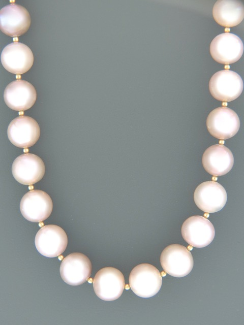 10mm Pink Pacific Pearl Necklace with Gold beads - YP102N