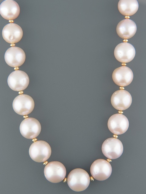 12-15mm Pink Pacific Pearl Necklace with Gold beads - Y013