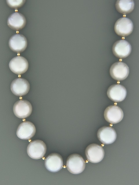 11mm Silver Pacific Pearl Necklace with Gold beads - Y017
