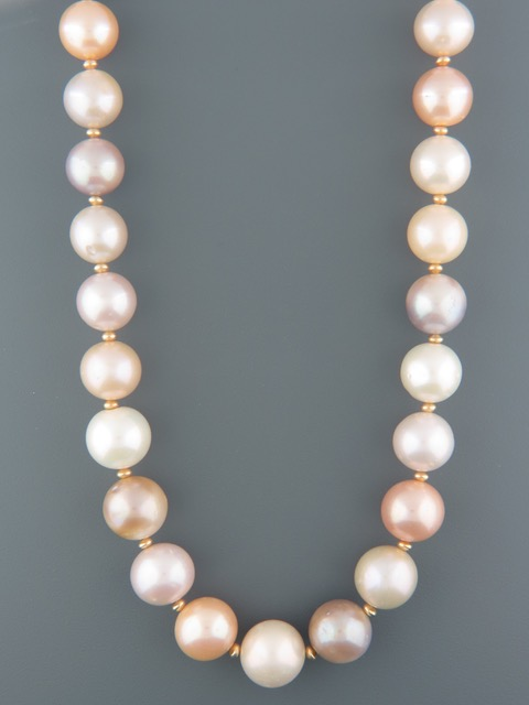 12-14mm Pink & White Pacific Pearl Necklace with Gold beads - Y019