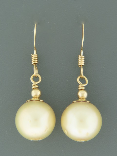 Champagne Pacific Pearl Earrings - 14ct Gold Filled - YCH11G