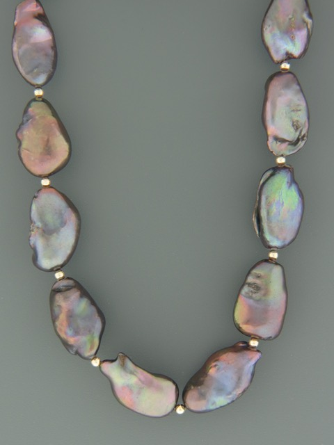 Baroque Pearl Necklace with Gold beads - Y021