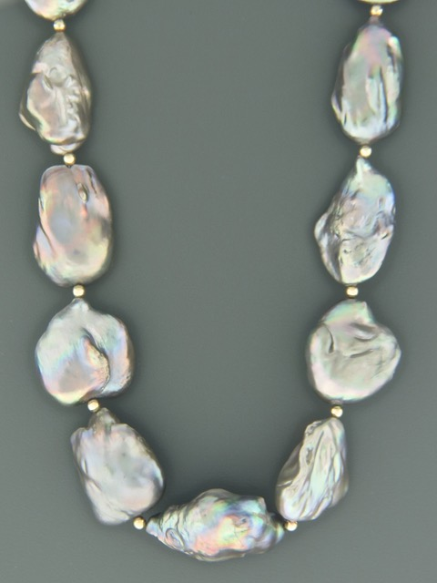 Silver Baroque Pearl Necklace with Gold beads - Y022