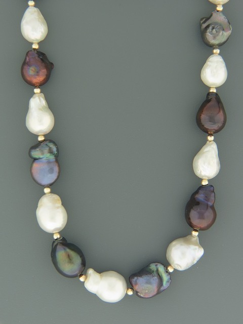 Dark & White Baroque Pacific Pearls with Gold beads - Y024