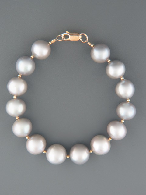 Silver Pacific Pearl Bracelet with Gold beads - Y917