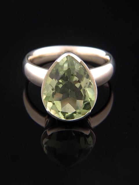 Prasiolite (Green Amethyst) Ring - Sterling Silver - PRA103R