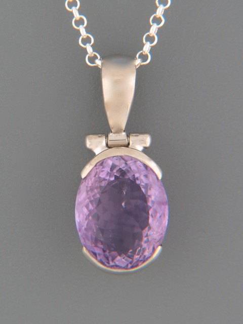 Amethyst Pendant - Sterling Silver - A348