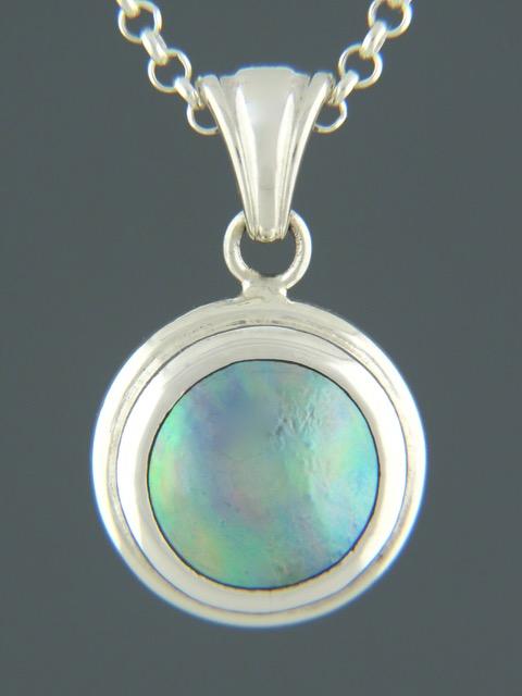 Paua Pearl Pendant - Sterling Silver - 11mm Pearl - PP308
