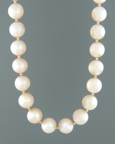 11-12mm Pink Pacific Pearl with Gold beads - Y029